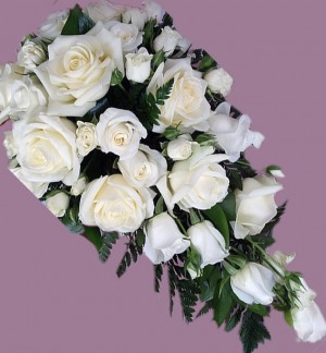 Classic all White Rose Shower Bouquet