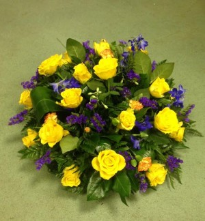 Yellow Rose and Blue Posy
